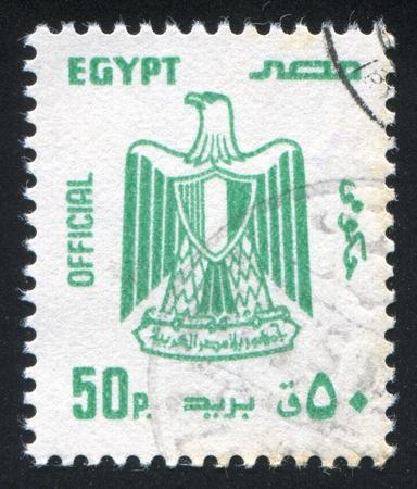 abjad: EGYPT - CIRCA 1972: stamp printed by Egypt, shows Eagle, Arms of Egypt, circa 1972.