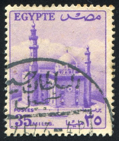 EGYPT - CIRCA 1952: stamp printed by Egypt, shows Mosque of Sultan Hassan, circa 1952.