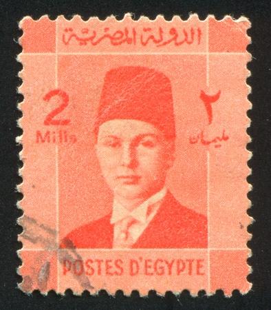 EGYPT - CIRCA 1944: stamp printed by Egypt, shows King Farouk, circa 1944. Stock Photo - 13460973
