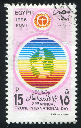 EGYPT - CIRCA 1996: stamp printed by Egypt, shows Ozone day emblem, circa 1996. Stock Photo - 13460863