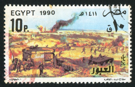 EGYPT - CIRCA 1990: stamp printed by Egypt, shows Bunker, tank, circa 1990