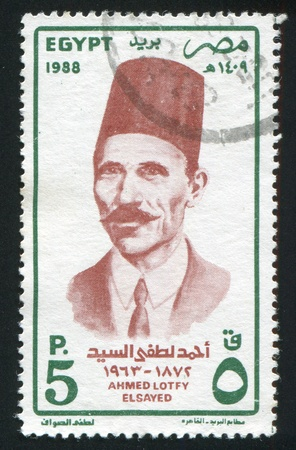 abjad: EGYPT - CIRCA 1988: stamp printed by Egypt, shows Ahmed Lotfi Sayed, circa 1988.