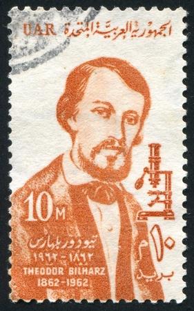 theodor: EGYPT - CIRCA 1962: stamp printed by Egypt, shows Theodor Bilharz, circa 1962.