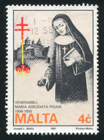christcross: MALTA - CIRCA 1991: stamp printed by Malta, shows Marie Therese Pisani, Benedictine Nun, circa 1991 Editorial