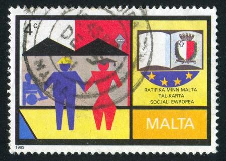 MALTA - CIRCA 1989: stamp printed by Malta, shows Council of Europe, circa 1989