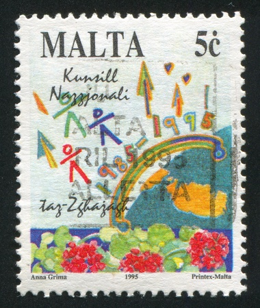 MALTA - CIRCA 1995: stamp printed by Malta, shows Flowers, Numerals, circa 1995