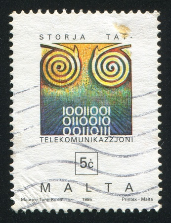 MALTA - CIRCA 1995: stamp printed by Malta, shows Cable, Binary Numbers, circa 1995