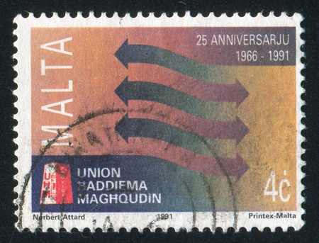 MALTA - CIRCA 1991: stamp printed by Malta, shows Arrows, circa 1991 Stock Photo - 13460996