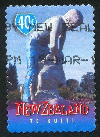 shearer: NEW ZEALAND - CIRCA 1998: stamp printed by New Zealand, shows Famous Town Icons, Sheep shearer, Te Kuiti, circa 1998