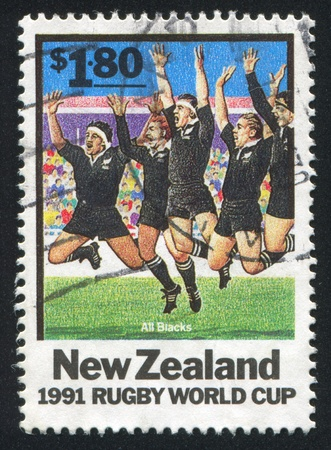 blacks: NEW ZEALAND - CIRCA 1991: stamp printed by New Zealand, shows Rugby World Cup, All Blacks, circa 1991