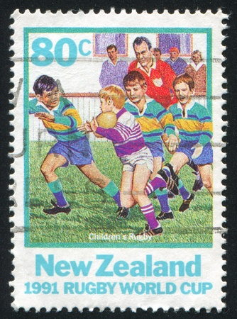 NEW ZEALAND - CIRCA 1991: stamp printed by New Zealand, shows Rugby World Cup, circa 1991
