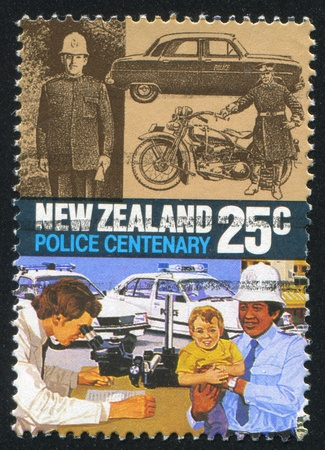 NEW ZEALAND - CIRCA 1986: stamp printed by New Zealand, shows Police Force Act, Centenary, 1920 motorcycle, 1940s car, modern patrol cars and graphologist, circa 1986