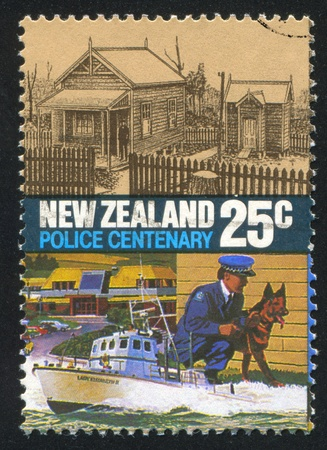 NEW ZEALAND - CIRCA 1986: stamp printed by New Zealand, shows Police Force Act, Centenary, Original Mt. Cook Training Center and modern Police College, Poriria, circa 1986