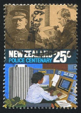 NEW ZEALAND - CIRCA 1986: stamp printed by New Zealand, shows Police Force Act, Centenary, Radio operators, 1940-1985, circa 1986