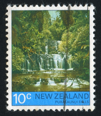 NEW ZEALAND - CIRCA 1976: stamp printed by New Zealand, shows Purakaunui Falls, circa 1976