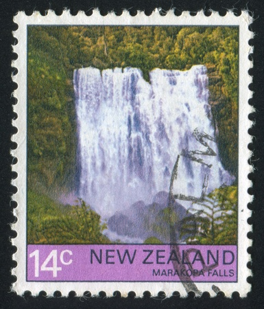 NEW ZEALAND - CIRCA 1976: stamp printed by New Zealand, shows Marakopa Falls, circa 1976