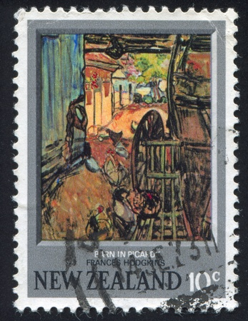 NEW ZEALAND - CIRCA 1973: stamp printed by New Zealand, shows Barn in Picardy, by Frances Hodgkins, circa 1973