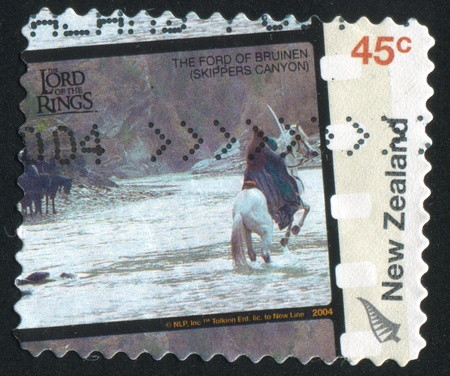 NEW ZEALAND - CIRCA 2004: stamp printed by New Zealand, shows Scene and Locations from The Lord of the Rings Movie Trilogy, Skippers Canyon (Ford of Bruinden) with actors, circa 2004