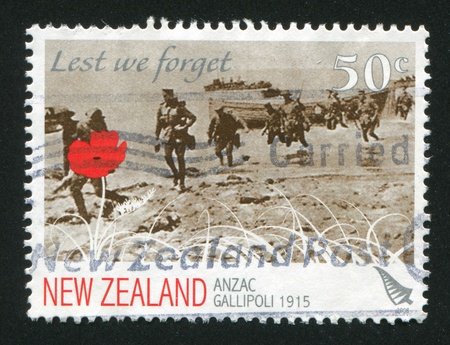 NEW ZEALAND - CIRCA 2008: stamp printed by New Zealand, shows Landing of the Australian and New Zealand Army Corps, circa 2008