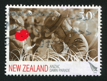 NEW ZEALAND - CIRCA 2008: stamp printed by New Zealand, shows ANZAC, dawn parade, circa 2008