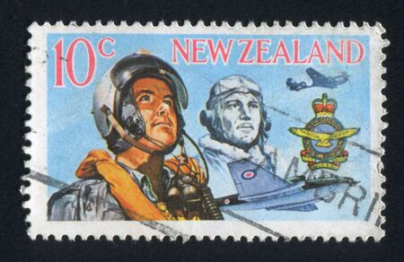 NEW ZEALAND - CIRCA 1968: stamp printed by New Zealand, shows Airmen of Two Eras and Plane, circa 1968