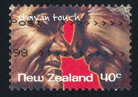NEW ZEALAND - CIRCA 1998: stamp printed by New Zealand, shows Older Couple with Faces Together, circa 1998