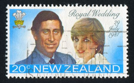 lady diana: NEW ZEALAND - CIRCA 1981: stamp printed by New Zealand, shows Prince Charles and Lady Diana, circa 1981
