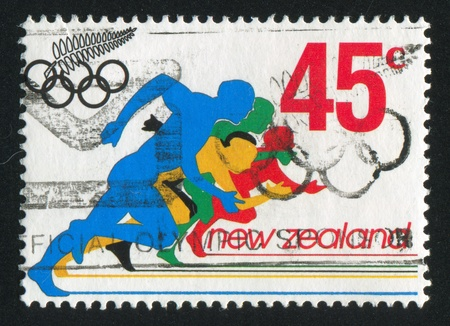 NEW ZEALAND - CIRCA 1992: stamp printed by New Zealand, shows Runners at Summer Olympics in Barcelona, circa 1992