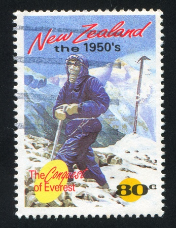 NEW ZEALAND - CIRCA 1994: stamp printed by New Zealand, shows Alpinist Conquering Mountain Everest, circa 1994