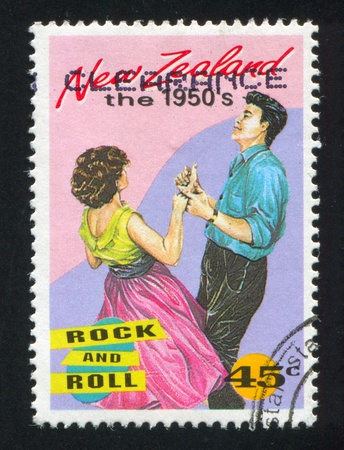 NEW ZEALAND - CIRCA 1994: stamp printed by New Zealand, shows Couple Dancing Rock and Roll, circa 1994 Editorial