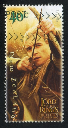 trilogy: NEW ZEALAND - CIRCA 2001: stamp printed by New Zealand, shows Legolas Shooting with Bow in Lord of Rings Trilogy, circa 2001