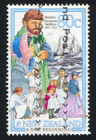 NEW ZEALAND - CIRCA 1998: stamp printed by New Zealand, shows British and European Settlers, circa 1998