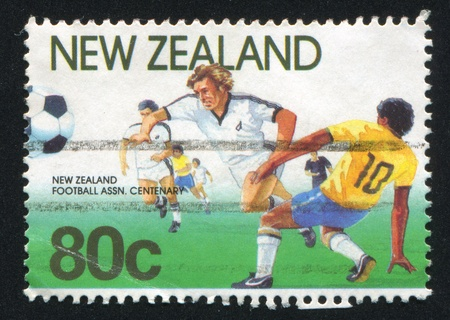 NEW ZEALAND - CIRCA 1991: stamp printed by New Zealand, shows Football Players, circa 1991
