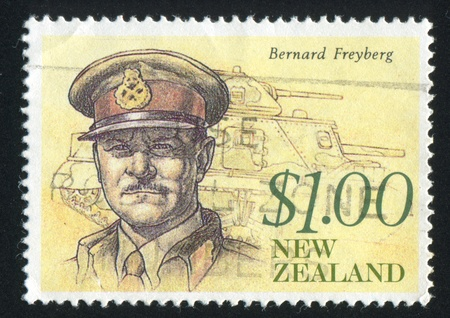 NEW ZEALAND - CIRCA 1990: stamp printed by New Zealand, shows Governor General Bernard Freyberg and Tank, circa 1990 Stock Photo - 13461051