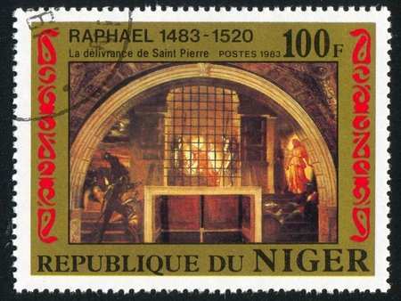 d�livrance: NIGER - CIRCA 1983: timbre imprim� par le Niger montre D�livrance de saint Pierre de Rapha�l, vers 1983