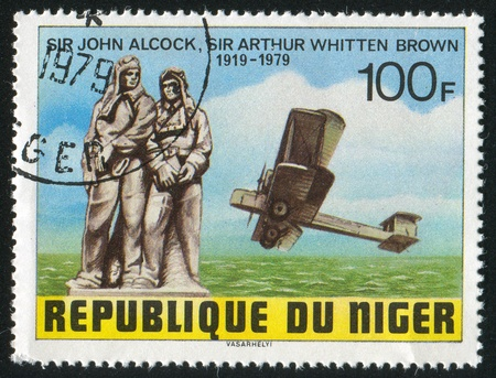 vickers: NIGER - CIRCA 1979: stamp printed by Niger shows John Alcock, Arthur Whitten Brown, Vickers-Vimy Biplane, circa 1979 Editorial
