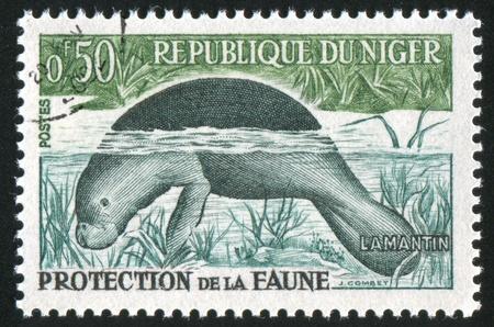 NIGER - CIRCA 1962: stamp printed by Niger shows Dugong, circa 1962
