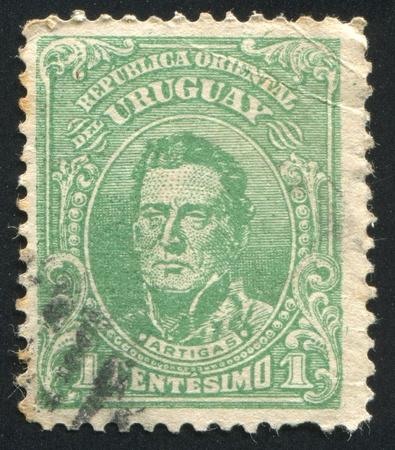 URUGUAY - CIRCA 1910: stamp printed by Uruguay, shows Jose Gervasio Artigas, circa 1910 Stock Photo - 13461016