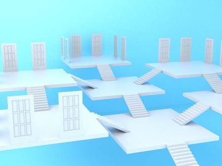 High resolution image. 3d rendered illustration. White ladder and door. illustration