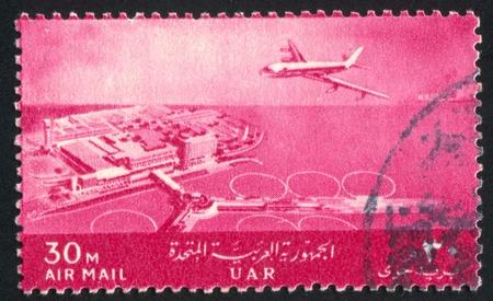 runways: EGYPT - CIRCA 1963: stamp printed by Egypt, shows Plane, International Airport, Cairo, circa 1963