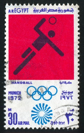 EGYPT - CIRCA 1972: stamp printed by Egypt, shows Handball, Olympic emblem, circa 1972