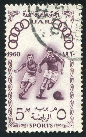 EGYPT - CIRCA 1960: stamp printed by Egypt, shows Soccer, circa 1960