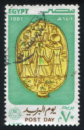EGYPT - CIRCA 1981: stamp printed by Egypt, shows Ladybug Scarab emblem (reverse), circa 1981 photo