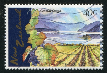 NEW ZEALAND - CIRCA 1997: stamp printed by New Zealand, shows Central Otago Vineyards, circa 1997 photo