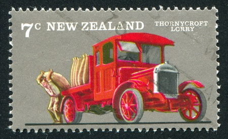 sack truck: NEW ZEALAND - CIRCA 1976: stamp printed by New Zealand, shows Farm Vehicles, Thornycroft truck, circa 1976
