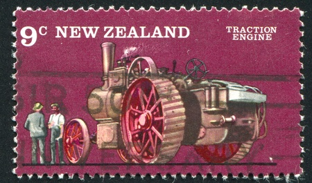 traction engine: NEW ZEALAND - CIRCA 1976: stamp printed by New Zealand, shows Farm Vehicles, Traction engine, circa 1976 Stock Photo