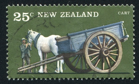 NEW ZEALAND - CIRCA 1976: stamp printed by New Zealand, shows Farm Vehicles, One-horse cart, circa 1976 photo