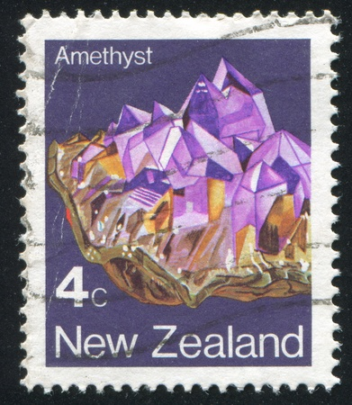 NEW ZEALAND - CIRCA 1982: stamp printed by New Zealand, shows Crystal, Amethyst, circa 1982 Stock Photo - 13591645