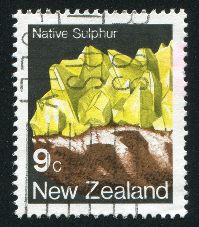 NEW ZEALAND - CIRCA 1982: stamp printed by New Zealand, shows Crystal, Native sulphur, circa 1982 Stock Photo - 13591603