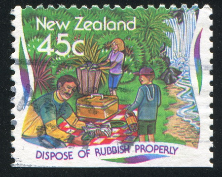 dispose: NEW ZEALAND - CIRCA 1995: stamp printed by New Zealand, shows Environmental Protection, Dispose of rubbish properly, circa 1995 Stock Photo